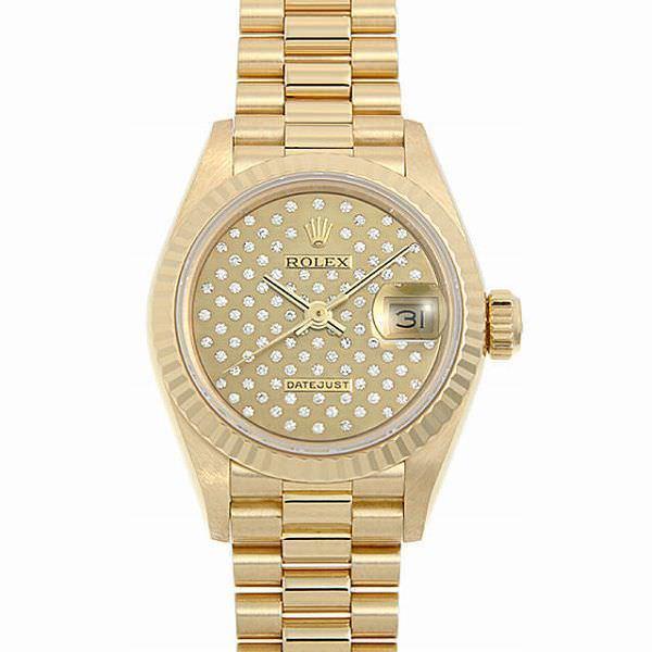 60回払い無金利ロレックスデイトジャストパヴェダイヤル69178PシャンパンE番中古レディース腕時計