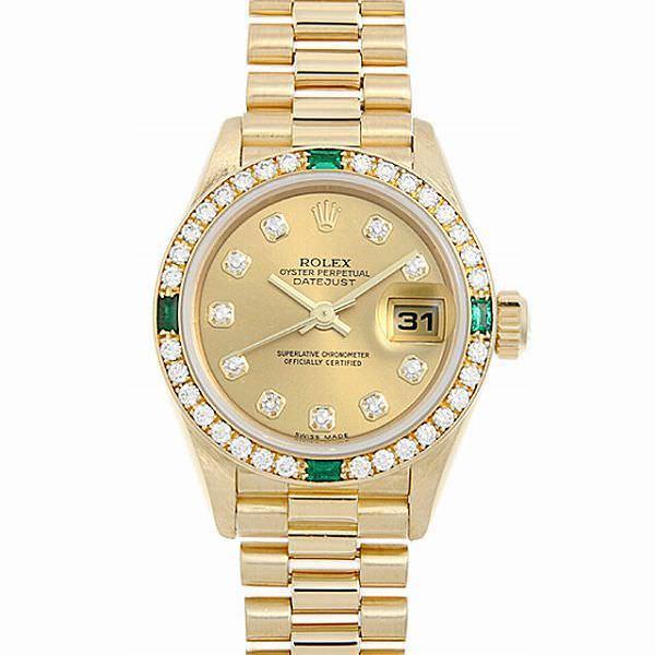 60回払い無金利ロレックスデイトジャストベゼルダイヤ4Pエメラルド79078GシャンパンP番中古レディース腕時計