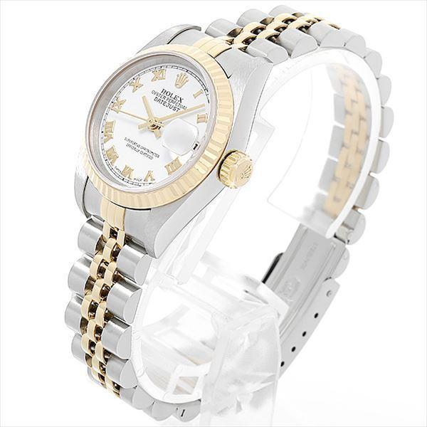48回払いまで無金利 ロレックス デイトジャスト K番 79173 ホワイト/ローマ 中古 レディース 腕時計|ginzarasin|02