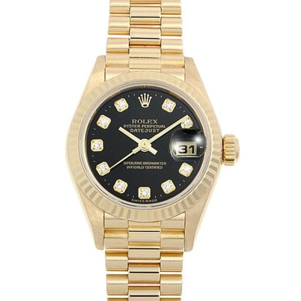 60回払い無金利ロレックスデイトジャスト10Pダイヤ79178GブラックK番中古レディース腕時計