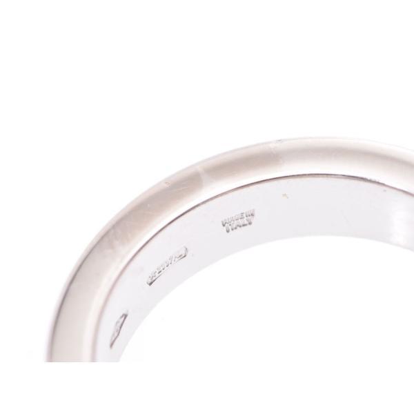 ブルガリ ダブルロゴリング 1Pダイヤ #7 レディース WG 5.8g 指輪 Aランク 美品 BVLGARI 中古 銀蔵