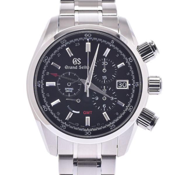 SEIKOセイコーグランドセイコースプリングドライブGMTSBGC203メンズSS腕時計自動巻き黒文字盤Aランク中古銀蔵