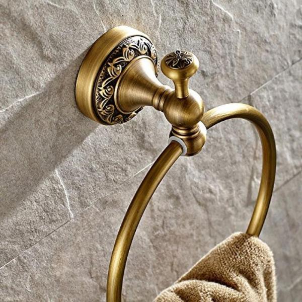 タオル掛け ライデン TM タオル リング タオル ラック タオル棚洗面所アクセサリー壁マウントされた、アンティークの真鍮の仕上げ 正規輸入品 gioiore 03