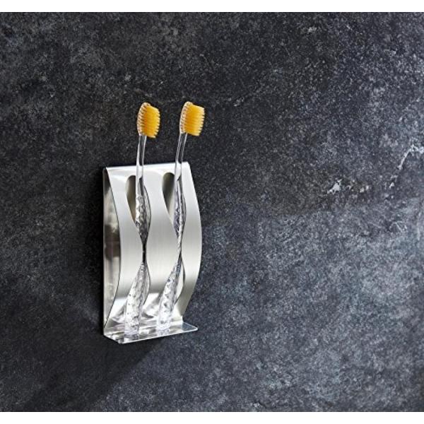 バスルーム 収納 Meiyiu Wall Mounted Toothbrush Holder Razor Organizer Self-Adhesive Stainless Steel 2 Hole 正規輸入品|gioiore|02