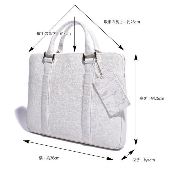 BajoLugo バジョルゴ シボ型押しホワイト×クロコ型押しホワイト ミニブリーフバッグ メンズ A4 白 gios-shop 12