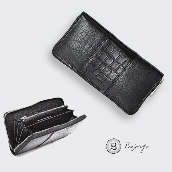 BajoLugo バジョルゴ ラウンドジップ ウォレット BJLG バッファロー ブラック × 本クロコ ブラック