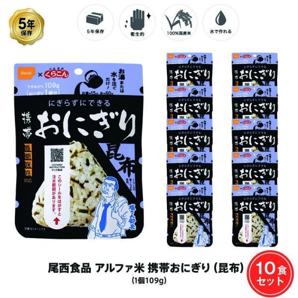 5年保存 非常食  アルファ米 おにぎり 昆布 ご飯 ごはん  10食 (10袋) セット