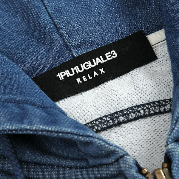 1PIU1UGUALE3 RELAX ウノピゥウノウグァーレトレ リラックス ジョグデニムフードパーカ インディゴ メンズ gios-shop 09