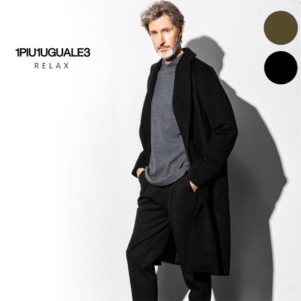 1PIU1UGUALE3 RELAX ウノピゥウノウグァーレトレ リラックス サーマル リフレックス ウール ピークド オーバーサイズ コート メンズ ジャケット アウター コート|gios-shop