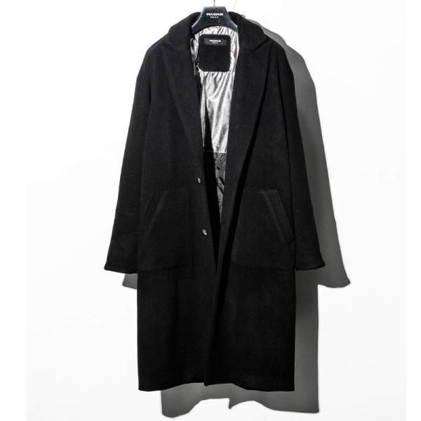 1PIU1UGUALE3 RELAX ウノピゥウノウグァーレトレ リラックス サーマル リフレックス ウール ピークド オーバーサイズ コート メンズ ジャケット アウター コート|gios-shop|12