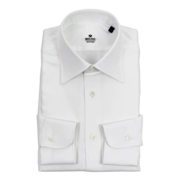 BRUNO(ブルーノ)19SS セミワイドカラー オックスフォード ドレス シャツ【ホワイト】|giottostile