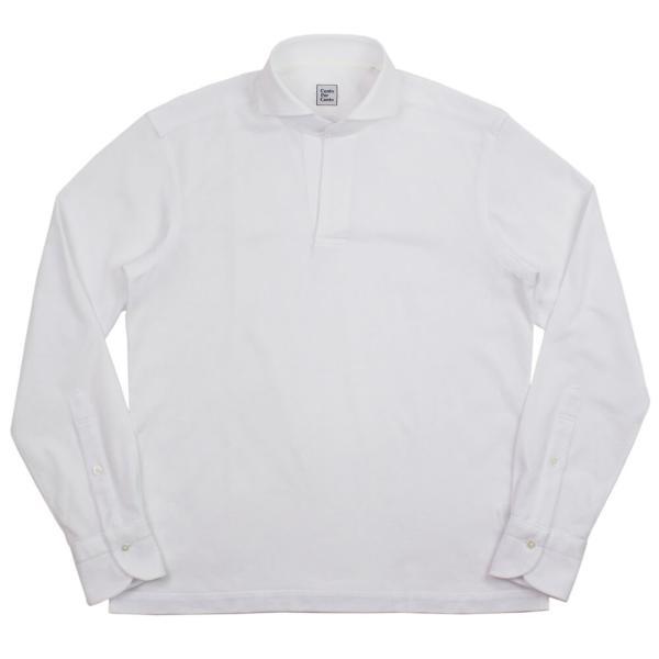 Cento Per Cento(チェントぺルチェント)19SS ロングスリーブ スキッパー ポロシャツ【ホワイト】|giottostile