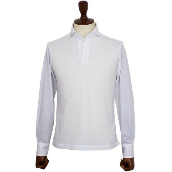 Cento Per Cento(チェントぺルチェント)19SS ロングスリーブ スキッパー ポロシャツ【ホワイト】|giottostile|03