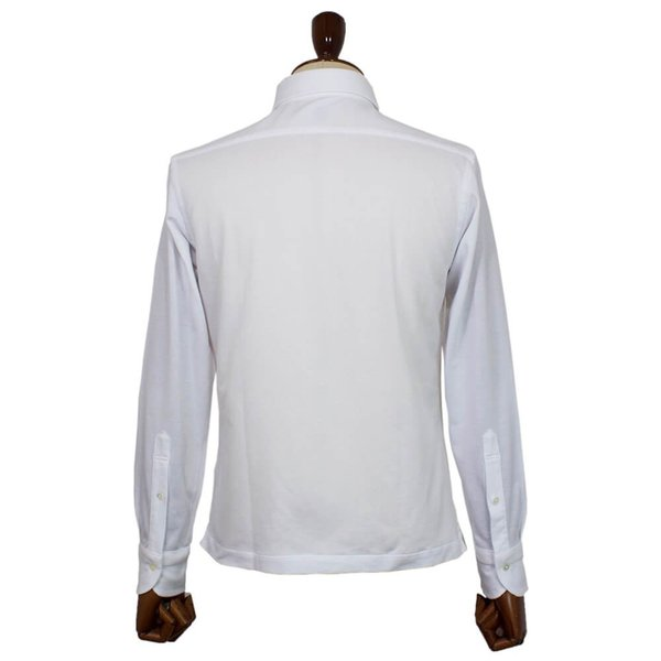 Cento Per Cento(チェントぺルチェント)19SS ロングスリーブ スキッパー ポロシャツ【ホワイト】|giottostile|04