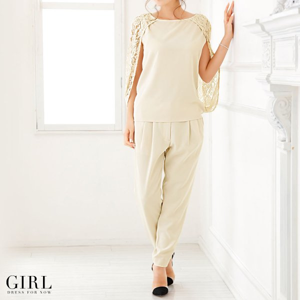 パーティードレス 結婚式 セットアップ パンツドレス 大きいサイズ 20代 30代 40代 モデル美香着用 ロング 袖あり レース フォーマル レディース|girl-k|05