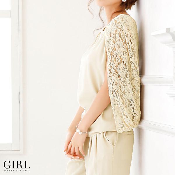 パーティードレス 結婚式 セットアップ パンツドレス 大きいサイズ 20代 30代 40代 モデル美香着用 ロング 袖あり レース フォーマル レディース|girl-k|06