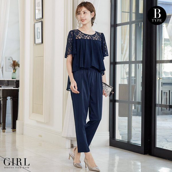 パーティードレス 結婚式 パンツドレス 大きいサイズ 20代 30代 40代 モデル美香着用 ロング フォーマル レディース|girl-k|03