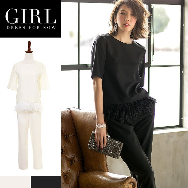 パーティードレス セットアップ パンツドレス ワンピース 大きいサイズ モデル美香着用 二次会 レディース フォーマル リアルファー girl-k