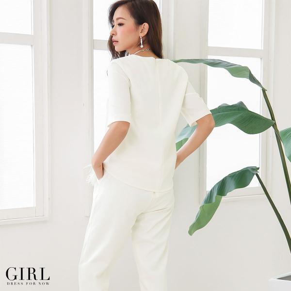 パーティードレス セットアップ パンツドレス ワンピース 大きいサイズ モデル美香着用 二次会 レディース フォーマル リアルファー girl-k 04