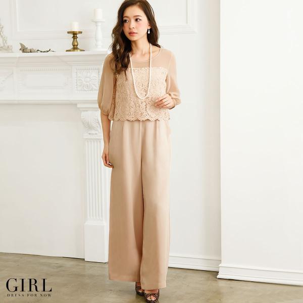 パーティードレス 結婚式 パンツドレス 大きいサイズ 20代 30代 40代 モデル美香着用 お呼ばれ オールインワン 二次会 ワイドパンツ|girl-k|03