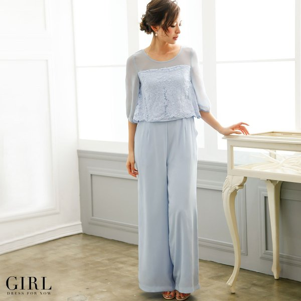 パーティードレス 結婚式 パンツドレス 大きいサイズ 20代 30代 40代 モデル美香着用 お呼ばれ オールインワン 二次会 ワイドパンツ|girl-k|04