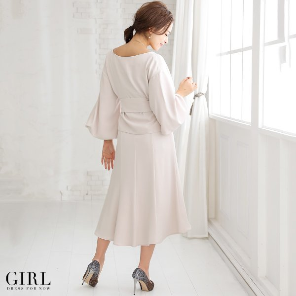 パーティードレス 大きいサイズ 30代 20代 結婚式 セットアップ ドレス 袖付き 袖あり 長袖 七分袖 モデル美香着用|girl-k|16