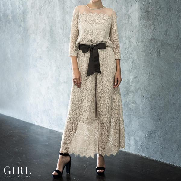 パーティードレス セットアップ パンツスタイル パンツドレス 結婚式 大きいサイズ ロング お呼ばれ 大きいサイズ パーティドレス パンツ 3点セット セット girl-k 04