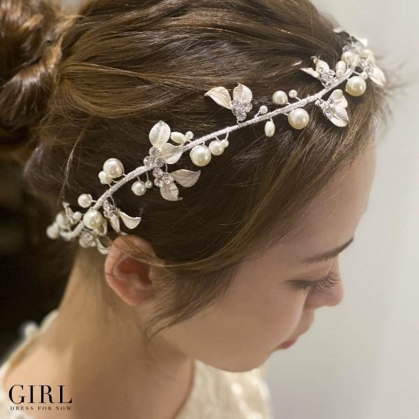 ヘッドドレス 大きめ 金具 結婚式 パール キラキラ パーティー パーティ 冠婚葬祭 フォーマル ヘアアクセサリー アクセサリー レディース お呼ばれ 二次会|girl-k