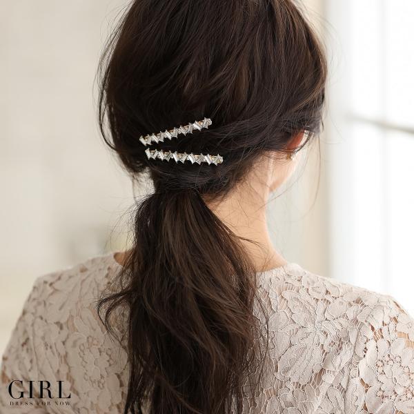 バレッタ ヘアアクセサリー ヘアアクセ 結婚式 ビジュー 髪飾り ヘッドドレス パーティー フォーマル アクセサリー レディース 2本セット|girl-k|08