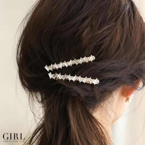 バレッタ ヘアアクセサリー ヘアアクセ 結婚式 ビジュー 髪飾り ヘッドドレス パーティー フォーマル アクセサリー レディース 2本セット|girl-k|09