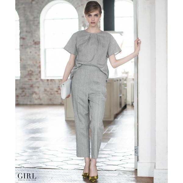 2/17まで 50%OFFクーポン利用で6990円 パーティードレス セットアップ パンツスタイル パンツドレス 結婚式 大きいサイズ ロング パンツ 2点セット|girl-k|02