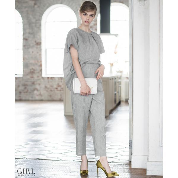 2/17まで 50%OFFクーポン利用で6990円 パーティードレス セットアップ パンツスタイル パンツドレス 結婚式 大きいサイズ ロング パンツ 2点セット|girl-k|03