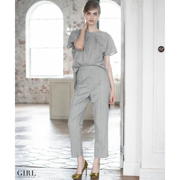 2/17まで 50%OFFクーポン利用で6990円 パーティードレス セットアップ パンツスタイル パンツドレス 結婚式 大きいサイズ ロング パンツ 2点セット|girl-k|04
