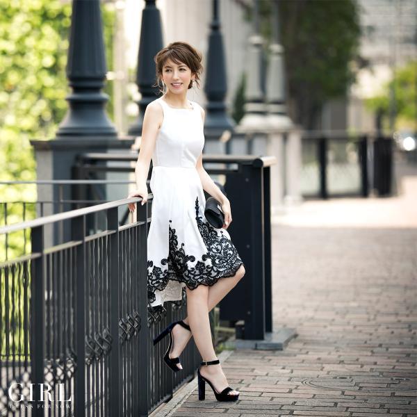 パーティードレス 結婚式 ワンピース モデル美香着用 ドレス 二次会 披露宴 レディース フィッシュテール イレギュラーヘム girl-k 02