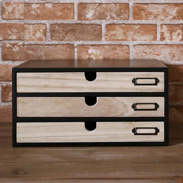 卓上収納 引き出し 木製 おしゃれ レターケース NOTICE 小物チェスト 3段3杯
