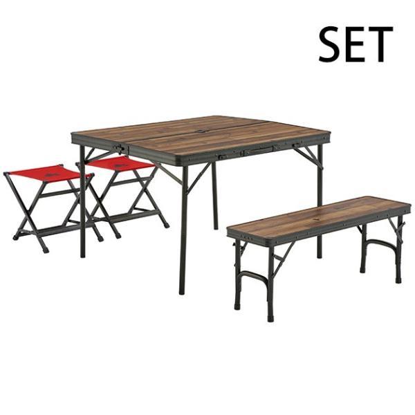 アウトドア 折りたたみ テーブルセット 90cm アルミ製 LOGOS ロゴス Tracksleeper ベンチ&チェアテーブルセット4