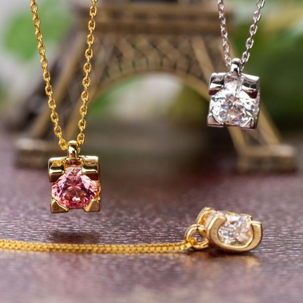 ネックレス スワロフスキー キュービックジルコニア ローズベルシア×ファンシーピンクネックレス CZダイヤモンド gisell 03