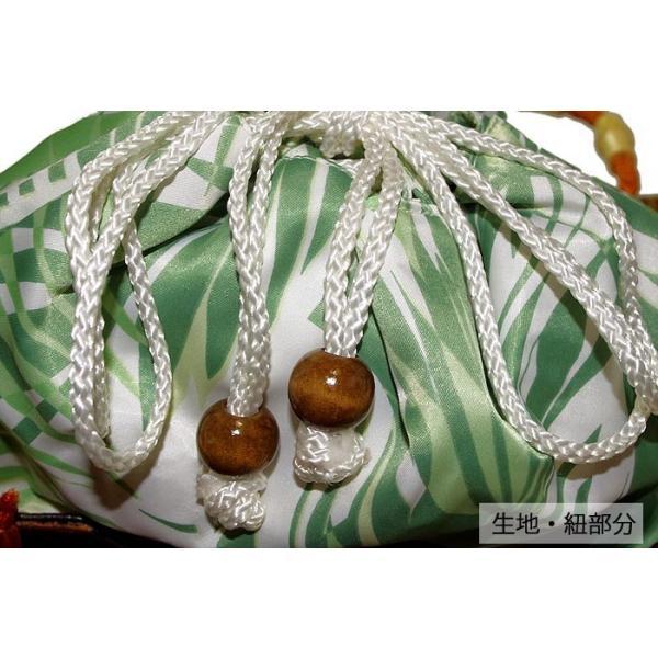 かごバッグ かご巾着 ブラック/グリーン/レッド モダン ヤシの葉 夏物 サマー 浴衣 着物 レディース 女性