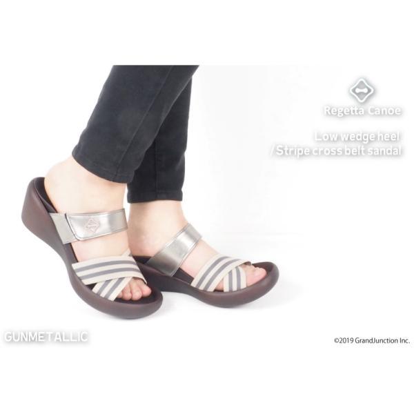 リゲッタ カヌー サンダル レディース 履きやすい ウェッジソール ゴムベルト ストライプサンダル sandal