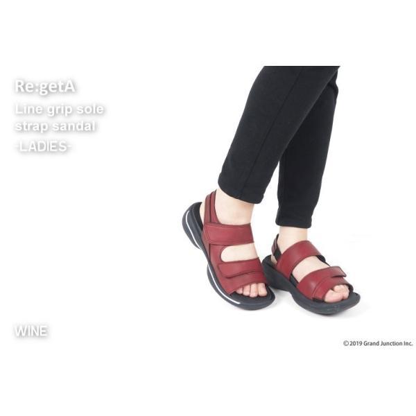 リゲッタ サンダル レディース オフィス ストラップ 甲高 幅広 履きやすい ベルクロ 防滑 グミ インソール sandal gjweb 03