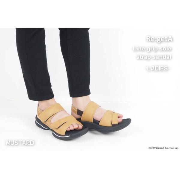 リゲッタ サンダル レディース オフィス ストラップ 甲高 幅広 履きやすい ベルクロ 防滑 グミ インソール sandal gjweb 06