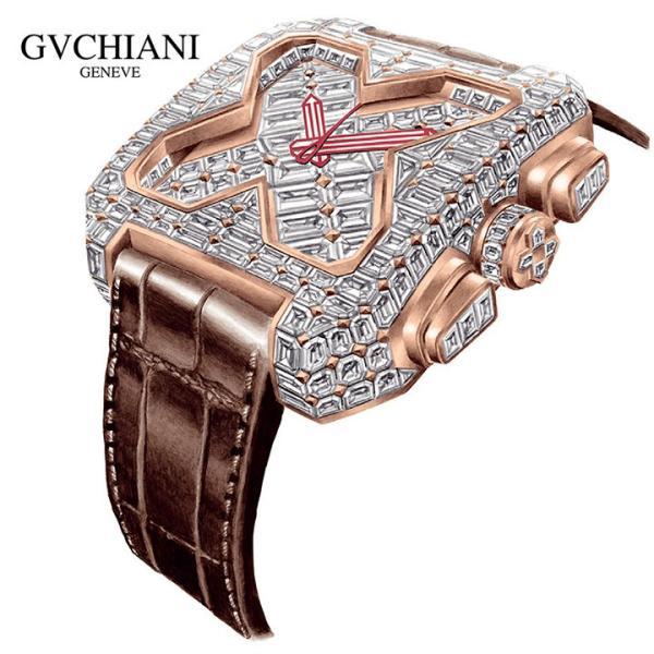 【日本正規総代理店】GVCHIANI(ブチアーニ)BIG SQUARE ROSE GOLD FULL DIAMOND TOURBILLON 18Kホワイトゴールド フルダイヤモンド 25カラット トゥールビヨン|gl-branding