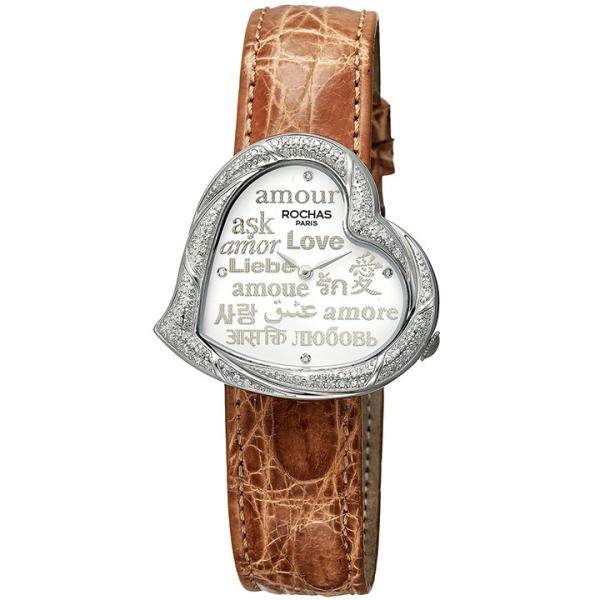 [ポイント10倍] ダイヤが散りばめられたハートのレディース時計 フランスのラグジュアリーブランド ROCHAS(ロシャス)RJ65 ホワイト/シルバー/ブラウン LOVE