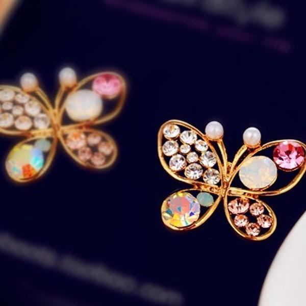 蝶 ビジュー ピアス/レディース/レディース 小物 アクセサリー ボリューム 大ぶり  個性的 モード レトロ オーロラ パーティ 結婚式 虹 レインボー|glam-accessory