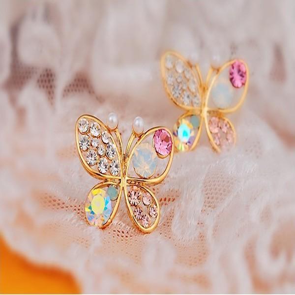 蝶 ビジュー ピアス/レディース/レディース 小物 アクセサリー ボリューム 大ぶり  個性的 モード レトロ オーロラ パーティ 結婚式 虹 レインボー|glam-accessory|02