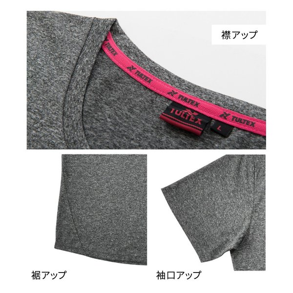 スポーツインナー レディース 速乾 吸汗 UVカット 紫外線カット ヨガ フィットネス / ロゴ入り半袖Tシャツ半袖 TULTEX タルテックス|glamore|06