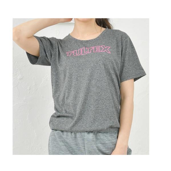 スポーツインナー レディース 速乾 吸汗 UVカット 紫外線カット ヨガ フィットネス / ロゴ入り半袖Tシャツ半袖 TULTEX タルテックス|glamore|09