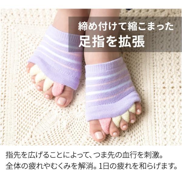足指 開放 広げる むくみ 解消 ケア フットケア 足の疲れ / 足指開放ソックス ハーフタイプ (ボーダー 柄) URUNA(ウルナ) glamore 03