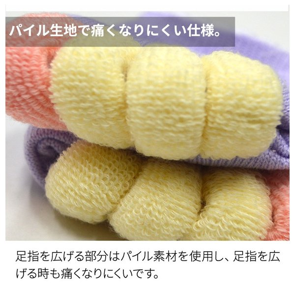 足指 開放 広げる むくみ 解消 ケア フットケア 足の疲れ / 足指開放ソックス ハーフタイプ (ボーダー 柄) URUNA(ウルナ) glamore 07