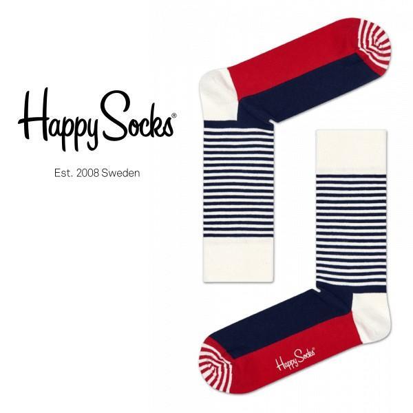Happy Socks ハッピーソックス HALF STRIPE ( ハーフ ストライプ ) クルー丈 綿混 ソックス 靴下 ユニセックス メンズ&レディス 1A110005|glanage